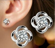 043 Damen Ohrringe Ohrstecker Blume 925 Sterling Silber Pl Zirkon Weiß Modern