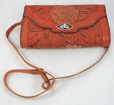 Vintage Mexican Brown Leather Clutch Purse Tooled Engraved Floral
