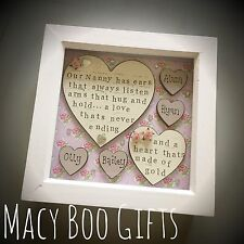 Bespoke Personalised Nannie Boxframe, Mum, Nan, Nanny, Granny, Birthday, Gift