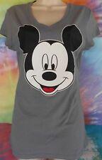 Mickey Mouse Face Disney Women's Junior Gray's V-Neck T-Shirt Small