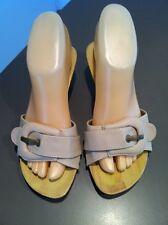 Beige ISABELLA BROWN Heels AUS Size 6 EU 37 Wooden Kitten Nude Brass Buckle