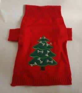 Medium Christmas Dog Sweater Red & green Christmas tree with dog bone Ornaments
