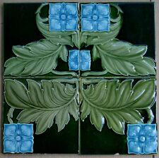 ALFRED MEAKIN - ANTIQUE ART NOUVEAU MAJOLICA - 4 TILE SET - C1900