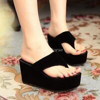 Hot Women Ladies Platform Thong Flip Flop High Wedge Heel Platform Shoes Sandals