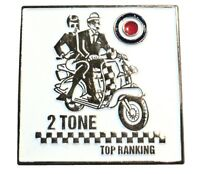 2 Tone Top Ranking Scooter MOD Ska Music Lambretta Metal Scooter Bike Badge