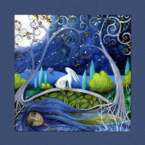 PAGAN WICCAN GREETING CARD Moon Gazing GODDESS HARE Nature CELTIC AMANDA CLARK