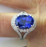 5 carat Oval Tanzanite & 1.06 ct round Diamonds 14k White Gold Ring #116