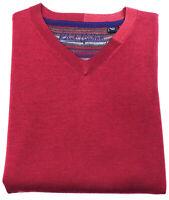 ROBERT GRAHAM Mens 100% Wool Size XL Flip Cuff Red V-Neck Pullover Sweater EUC