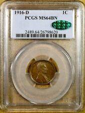 1916-D PCGS MS64 BN Lincoln Cent - CAC Stickered