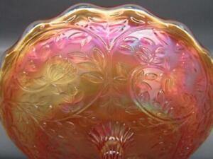 """7099 Westmoreland LOUISA Marigold Carnival Glass Round Footed 9"""" Bowl"""