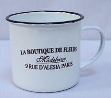 Emaille Kaffeepott, Nostalgie Henkelbecher Landhausstil, weiß- schwarz