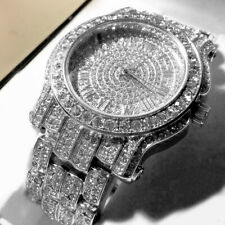 MENS SILVER CAPTAIN BLING ICE AVENTURA Pave Crystal WATCH WITH METAL BAND