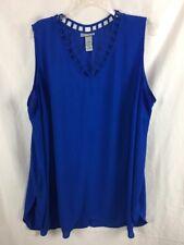 Catherines Womens Size 3X Blue Blouse Sleeveless B*N