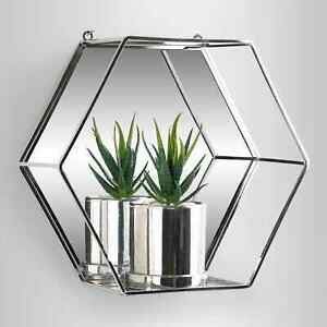 NEW Silver Hexago Mirror Shelf Metal Wire Wall Shelf Home Decor Storage Floating
