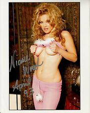 NICOLE WOOD hand-signed BUSTY BRALESS PULLING UP BLOUSE 8x10 uacc rd coa PROOF