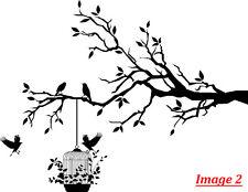 'Tree Branch, Birds & Cage' Art Vinyl Wall Sticker, DIY Wall Decal- HIGH QUALITY