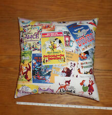 New Disney Movie Characters Posters Cotton Fabric Pillow  Handmade in the U.S.A.
