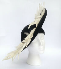 Vintage Jack McConnell Red Feather Couture Black White Tilt Hat