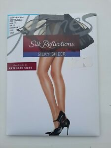 Hanes Silk Reflections silky sheer Panty Hose control top barely black size E/F