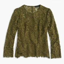 NWT- J Crew L/S Lace Top W/ Built-in Cami, Burnished Moss Green - Size 2 XSmall