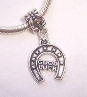 Good Luck Horseshoe Word Lucky Dangle Charm for Silver European Bead Bracelets