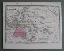 1839 Original Antique Mitchell Map:Oceania:Cpt.Cook,Bounty Mutineers+more (rare)