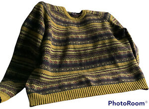 🌺Land's End  Fair Isle  Lambswool  Mens Jumper Size Large Mustard🌺