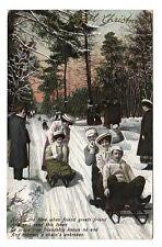 Tobogganing - Photo Postcard c1910 / Winter Sports