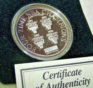 Chicago Bulls Coin 1 Troy Ounce .999 Silver 4 Time World Champions Limited Edit.
