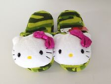 Sanrio HELLO KITTY Plush SLIPPERS Girls 11-12 Green Camouflage Pink Bow NEW!