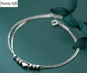 "Women Girl 925 Sterling Silver Heart Bead Love Double Chain Anklet Bracelet 8-9"""