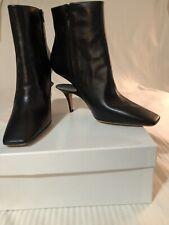 NIB Maison Margiela Black Cut-out/Suspended Heel Leather Booties Boots EU 39.5
