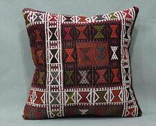 "Vintage Turkish Antique Kilim Pillow Old Kelim Rug Throw Cushion Cover 16 x 16"""