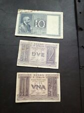 Italy 3 banknotes 1930s to 1940s
