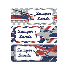 School Name Labels, Waterproof, Daycare Name Labels, Camp, Boy, Airplanes, Red