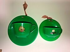 Set 2 Vintage Green Plastic Products Co Teacup & Saucer Wall Pocket Hollywood CA