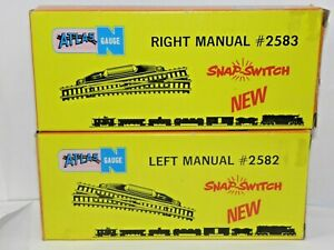 ATLAS N PAIR OF SWITCHES: RIGHT & LEFT MANUAL, #2583 & #2582 SNAPSWITCH NEW