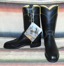 Womens Vintage Justin Roper Black / Yellow Leather Roper Cowboy Boots 6.5 B NEW