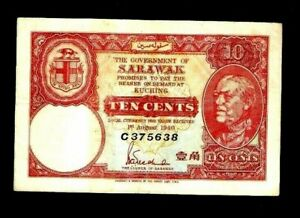 SARAWAK 10 CENTS P-25 1940 RAJA CHARLES BROOKE <C> SERIES RARE MALAYSIA BANKNOTE