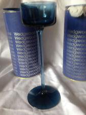 Wedgwood Vetro Saphire CANDELIERE firmato su base ottime condizioni 8 pollici