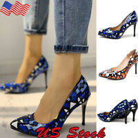 Women's Ladies Pointy Toe Slip On Stiletto High Heels Pumps Shoes Size 5 - 8.5