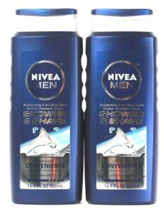 2 Nivea Men 16.9 Oz 3 In 1 Body Wash Shower & Shave Shampoo With Avocado Oil
