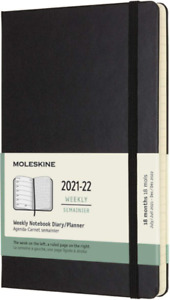 Moleskine 18 Month Academic Diary 2021-2022 Large Weekly Hard Cover Black