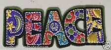 "(D38) PEACE 3.75"" x 1.5"" Retro iron on patch applique Stars Hearts"