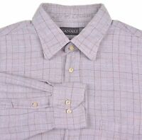 Canali ITALY Gray Herringbone Brown Check FLANNEL Cotton Casual Shirt L