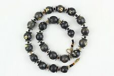 Natural Clay Beads Necklace. Hand painted Kazuri type beads NCS36