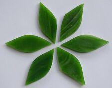 6 St. Tiffany Glas Blattform Handarbeit grün a 4x1,5cm, ca. 12g für Blüten