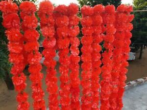 10 Pcs Red Artificial Garlands Marigold Flower Diwali decoration flower toran