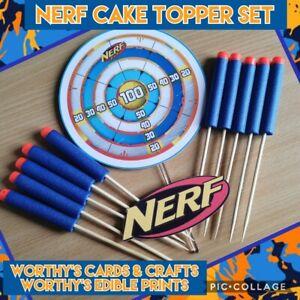 NERF GUN BULLETS & TARGET CAKE TOPPER & LOGO (CARD)