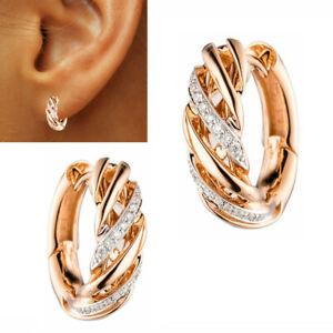 Diamanten Ohrringe Creolen 0,10ct 585 echt Gold 14 Karat Rosegold rund breit neu